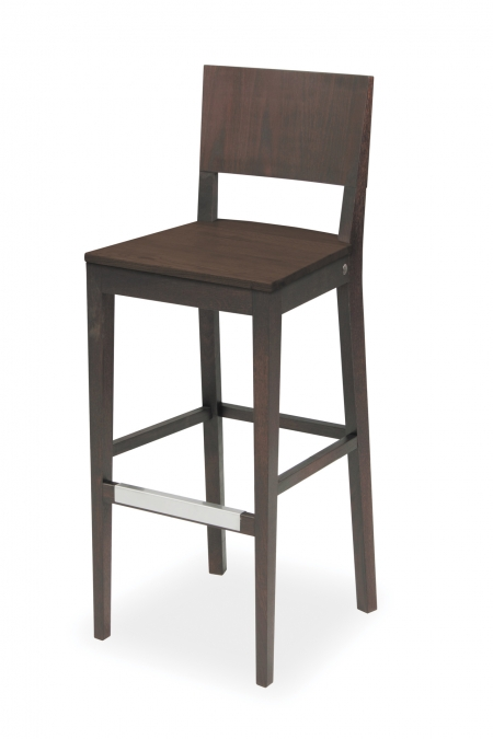 EDITA BAR STOOL WHOLLY WOODEN WITH STAINLESS SHIELD