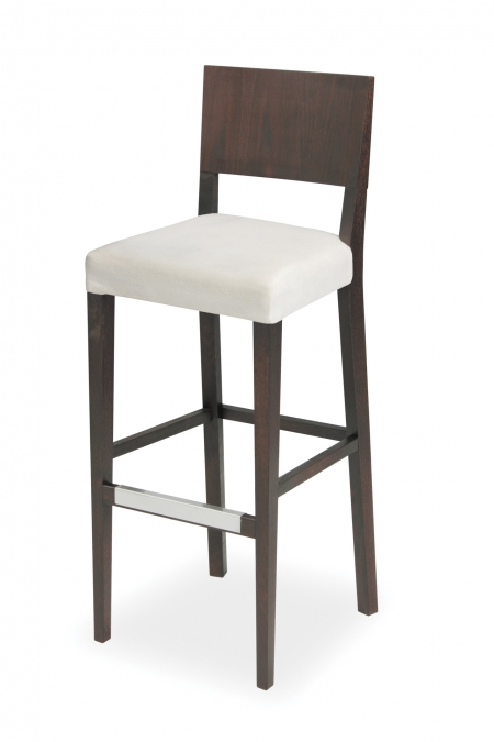 EDITA bar stool with upholstered aprons and stainless shield