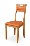 VENGE CHAIR with upholstered seat, partially upholstered back and handle