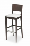 EDITA BAR STOOL with upholstered seat and stainless shield